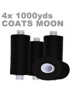 4 x 1000m spool of overlock tread in Black