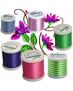 Rayon threads for machine embroidery